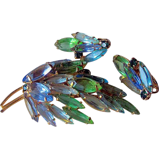 Pastel Blue and Green Rhinestone Set Open Back Stones
