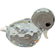 Swarovski Crystal Block Logo Mini Duck Figurine Signed with Box