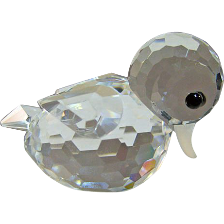 Swarovski Crystal Block Logo Mini Duck Figurine Signed with Box