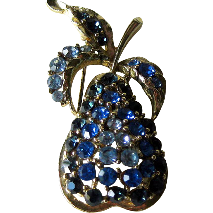 Blue Rhinestone Pear Pin Brooch Fruit Figural