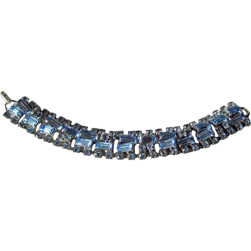 Ice Blue Rhinestone Bracelet Unique Construction