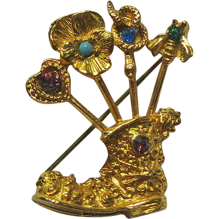Boot Pin Scrollwork With Stickpins: Heart Pansy Snake Bee Figural Brooch