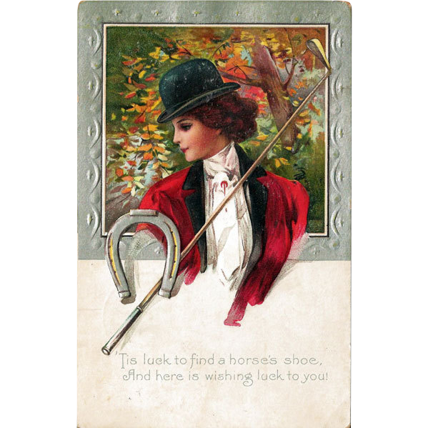 Good Luck Postcard Horsewoman Crop Horseshoe
