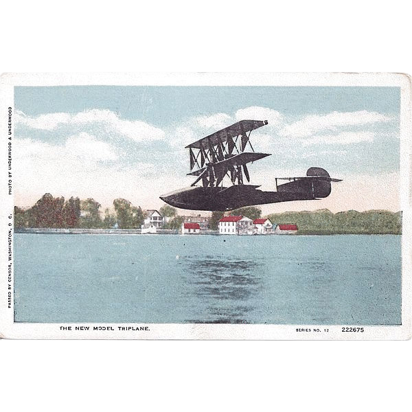 New Model Triplane Postcard Underwood & Underwood Photograph