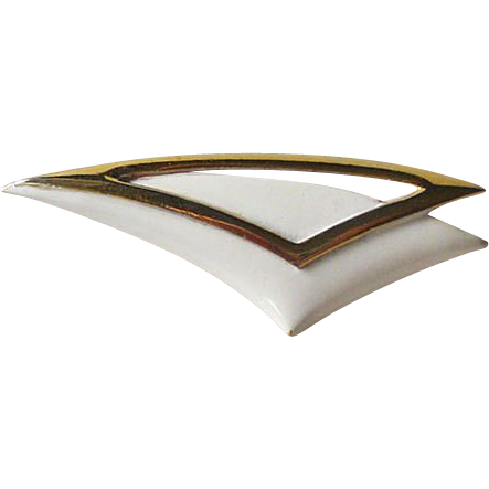 Crown Trifari Mid Century Gold-tone White Enamel Pin Brooch