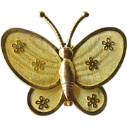 Mesh Butterfly Pin Brooch Gold-tone Flower Accents