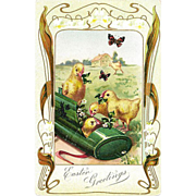 Easter Postcard Chicks Nesting in Easter Tin Rabbit Decoration Butterflies Flowers