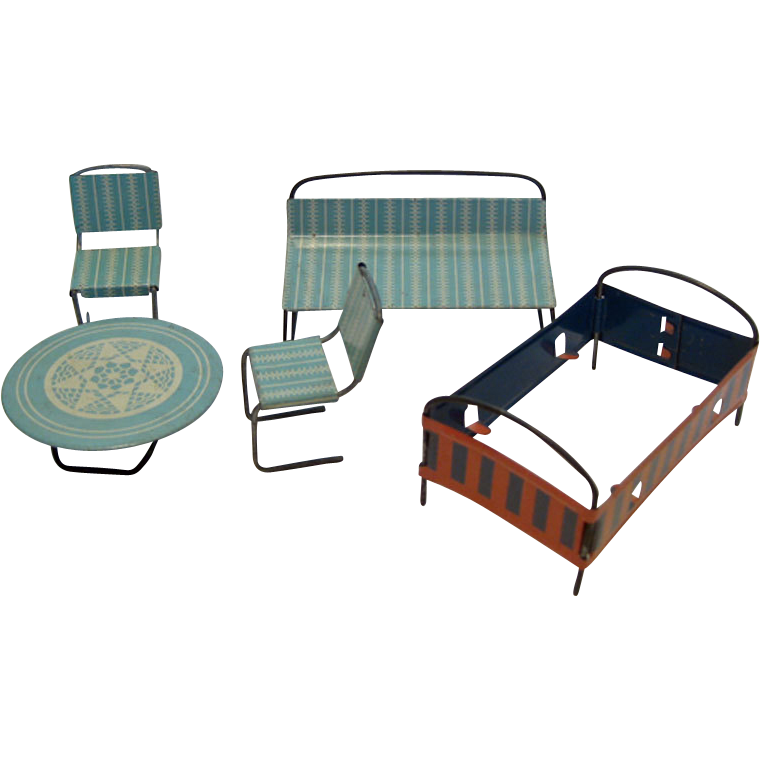 Doll House Tin Furniture / Baby's Furniture Set / Doll House Table / Doll House Bed / Vintage Doll House Furniture / Collectible Doll House Furniture