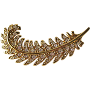 Swarovski Feather Pin / Swarovski Rhinestone Pin / Designer Pin / Collectible Pin / Vintage Pin