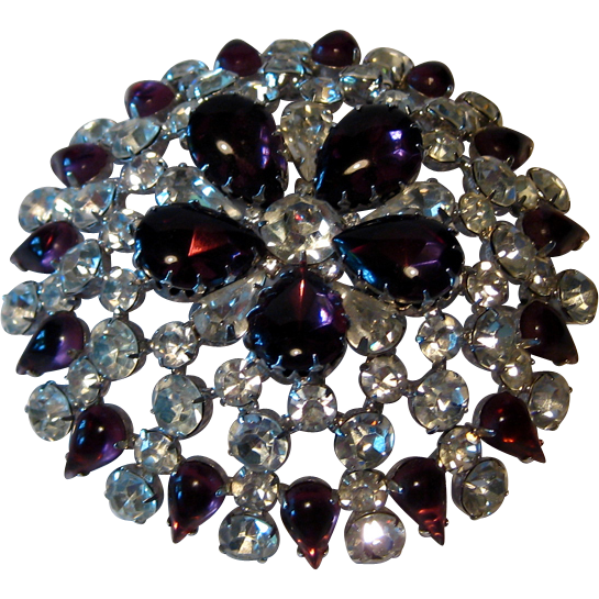 Spectacular Huge Hattie Carnegie Domed Pin Amethyst and Clear Rhinestones Three and One Half Inch Diameter