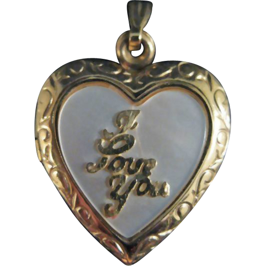 "Locket with Mother of Pearl Insert and ""I Love You"" in Script / Gold-tone Locket / Heart Locket"