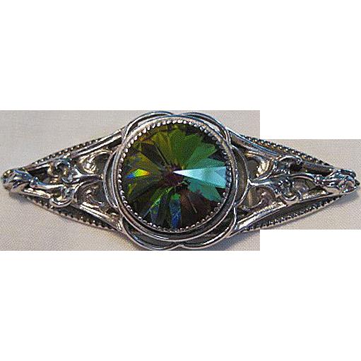 Whiting & Davis Filigree and Watermelon Rivoli Rhinestone Pin /  Whiting Davis Brooch / Designer Pin / Fashion Jewelry