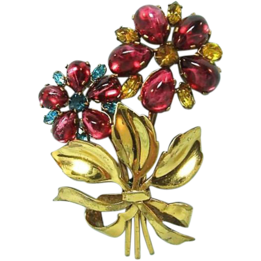 Czechoslovakian Pin Truly Outstanding Colors / Flower Pin / Designer Pin / Fashion Jewelry / Collectible Jewelry