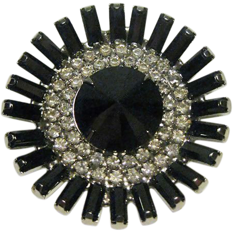 Hematite and Clear Rhinestone Round Pin / Dimensional Pin / Fashion Pin / Vintage Jewelry / Vintage Pin