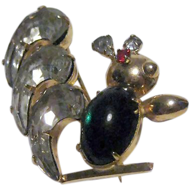 Rare Scitarelli Squirrel Pin / Scitarelli Figural Pin / Vintage Pin / Fashion Jewelry /