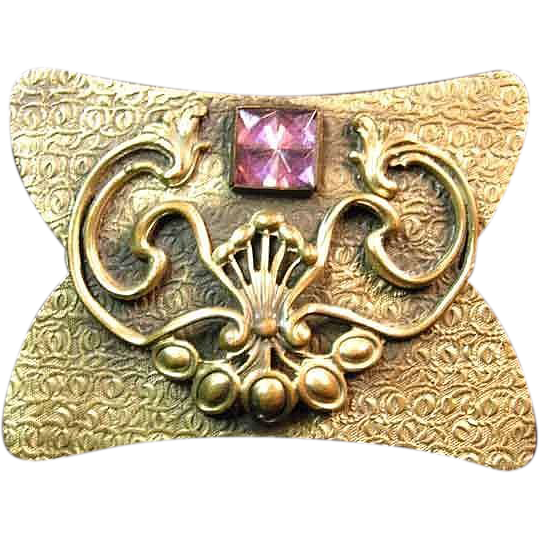 Art Nouveau Sash Pin Brooch with Amethyst Colored Stone / Vintage Sash Pin