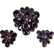 Fabulous Deep Amethyst Color EISENBERG Demi Parure / Eisenberg Pin and Earrings / Fabulous Deep Amethyst Color Eisenberg Set