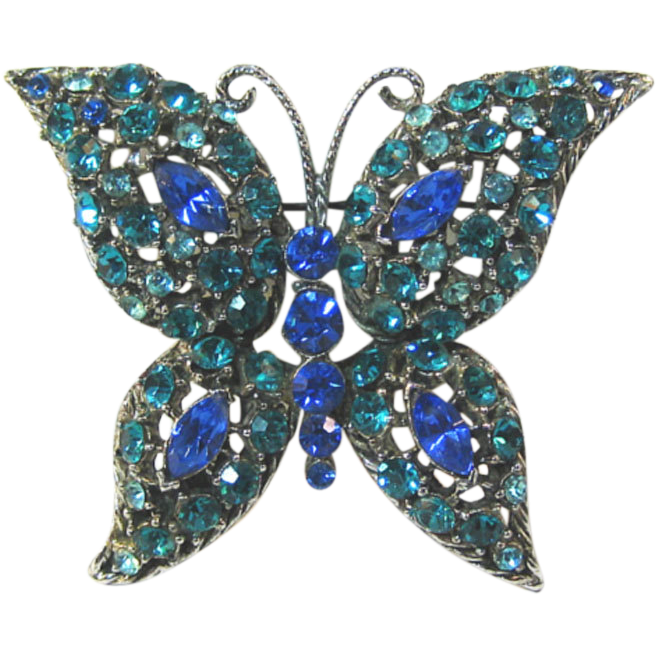 Blue Rhinestone Butterfly Pin Brooch Bright Bold and Beautiful / Vintage Butterfly / Collectible Butterfly / Fashion Jewelry / Blue Butterfly