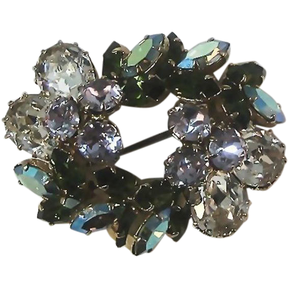 Austria Rhinestone Pin of Many Colors: Collectible Pin: Mid-Century: Vintage Pin: Fashion Jewelry