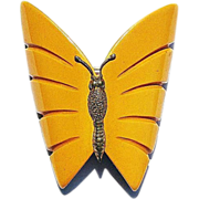 Carved Bakelite Butterfly Pin Brass Body / Outstanding Bakelite Butterfly / Vintage Jewelry / Collectible Jewelry / Fashion Jewelry