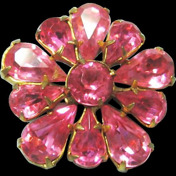 Pink Rhinestone Brooch / Perky Petite Pink Pin