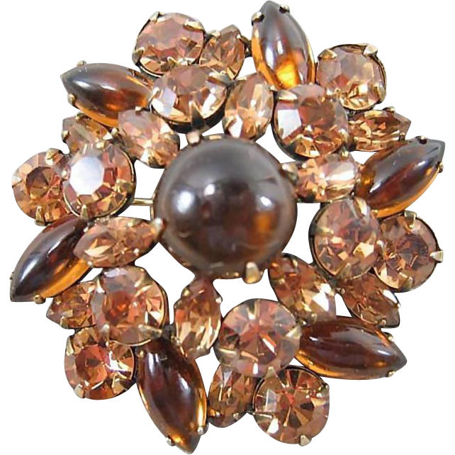 Mink Colored Rhinestone Pin / Warm and Wonderful Rhinestone Brooch