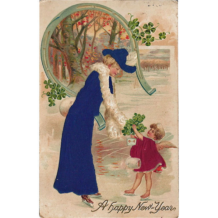 New Year Postcard / Silk kPostcard / Germany Postcard / Lady and Child Postcard / Vintage Postcard / Collectible Postcard / Embossed Postcard