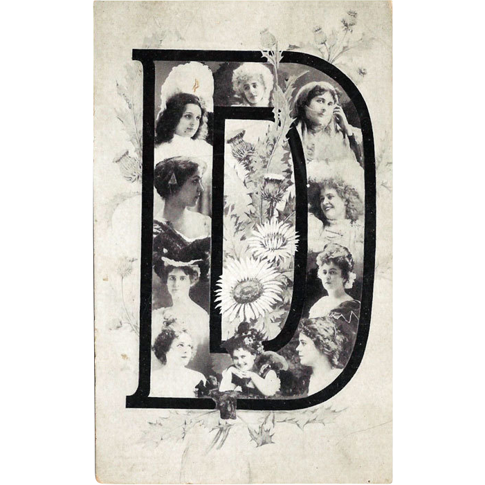 Letter D Postcard with Lovely Ladies / Collectible Postcard / British Postcard / Vintage Postcard / Unused Postcard