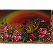 Bird and Roses Postcard with Rainbow / Vintage Postcard / Collectible Postcard / Embossed Postcard