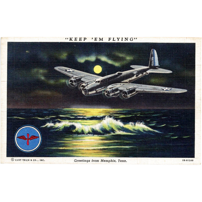 World War II Airplane Postcard Keep 'em Flying