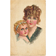 Postcard Painting by Artist Alice Luella Fidler / American Girl No 120 / Mother and Child