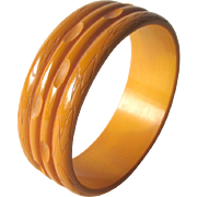 Butterscotch Bakelite Stacked Rings Carved Bracelet / Vintage Bakelite