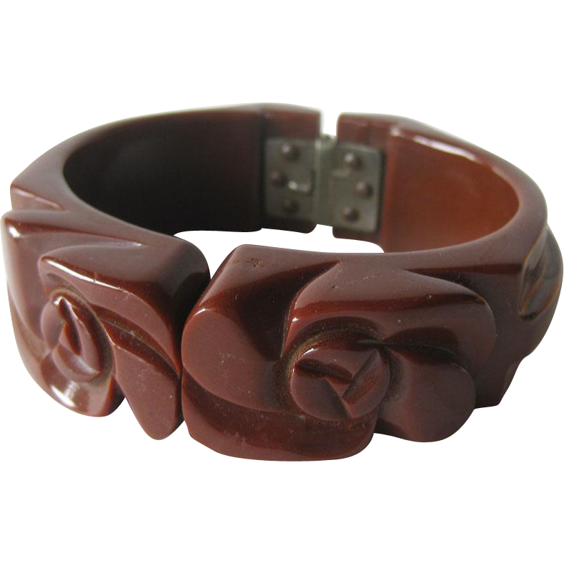Bakelite Milk Chocolate Deeply Carved Clamper Bracelet
