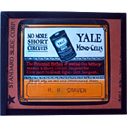 Glass Advertising Slide Yale Mono Cells Batteries