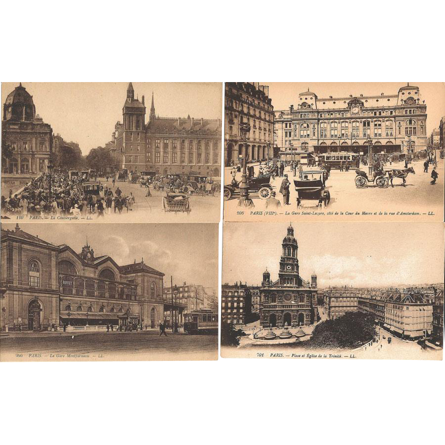 Paris Postcards Real Photo Sepia Tone / Group of Four Paris Postcards / Paris Street Scenes