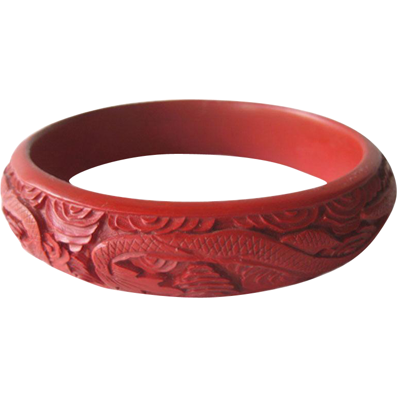 Chinese Cinnabar Bracelet Double Dragons