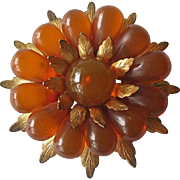 Stunning Large Pin Amber Lucite and Brass / Vintage Brooch / Mid Century Pin