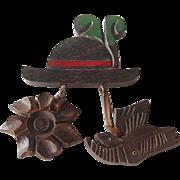 Wooden Pin Switzerland / Wood Pin Hat Goat Edelweiss