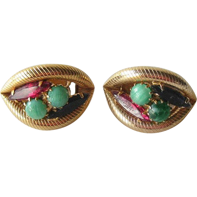 Vintage Clip on Earrings with Jadeite Cabochon Stones Sapphire and Ruby Colored Navettes