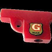 G Man Bakelite Pencil Sharpener / Keychain Sharpener / Collectible Bakelite / Bakelite Gun / Vintage Bakelite / Red Bakelite
