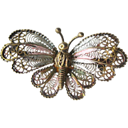 Butterfly Brooch / Butterfly 800 Silver Gold Wash / Vintage Butterfly / Fashion Jewelry