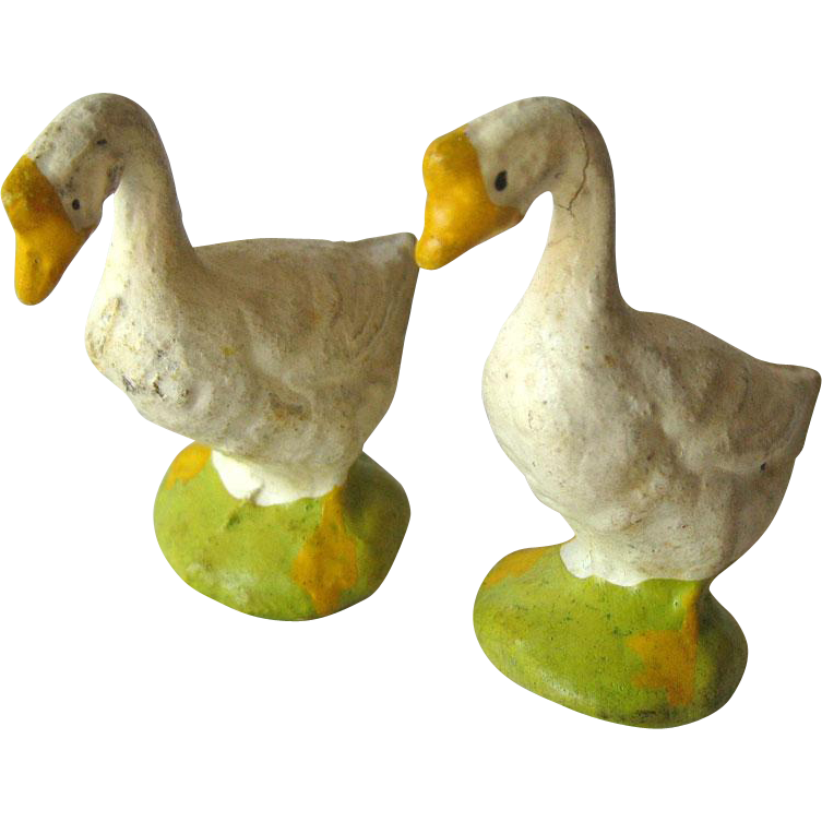 Geese Miniature Figurines / Composition Geese / Japan Goose/ Putz Figurine