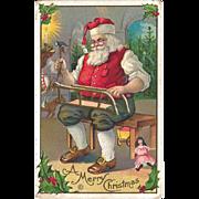 Santa Christmas Postcard / Sled / Santa / Collectible Card / Collectible Santa / Vintage Santa / Holiday Decor
