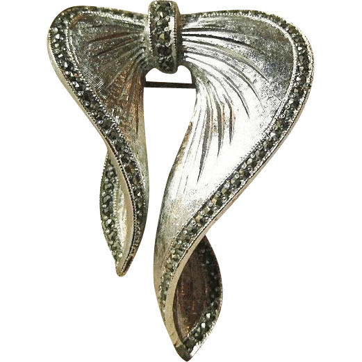 Elegant Sphinx Bow Pin Marcasite Stones / Signed Brooch / Designer Pin / Vintage Jewelry / Collectible Jewelry / Fashion Jewelry