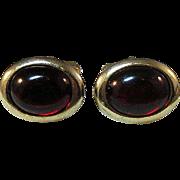 Anson Cuff Links / Red Glass Stones / Vintage Cufflinks / Collectible Cufflinks / Men's Jewelry / Men's Fashion