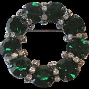 Stunning Eisenberg Ice Pin / Emerald Green Pin / Circle Pin / Designer Pin / Collectible Jewelry / Fashion Jewelry / Vintage Pin