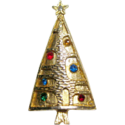 Mid Century Christmas Tree Pin / Modernist Christmas Tree Pin / Holiday Jewelry / Christmas Brooch