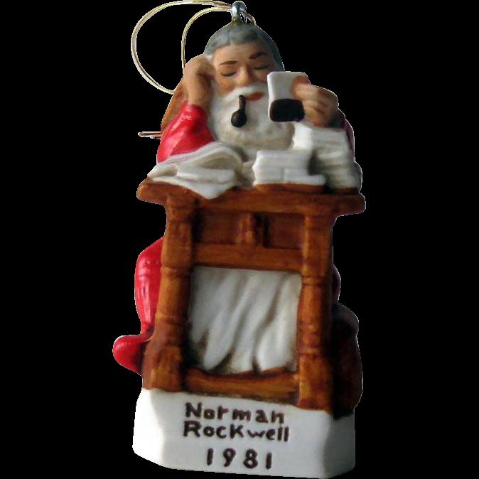 Rockwell Santa Reading Letters / Rockwell Santa Ornament