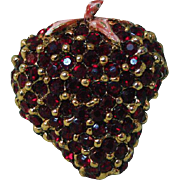 Red Rhinestone Strawberry Pin with Enamel Stem