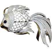 Lovely and Elegant Enameled Fish Pin by Lisa